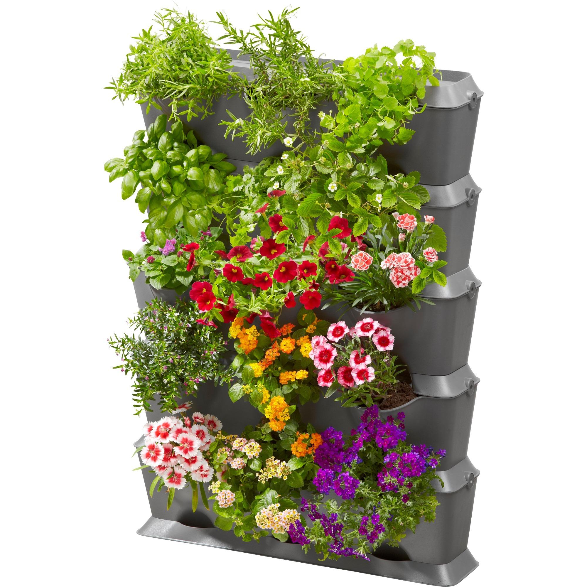Fioriere Per Esterno Plastica.Gardena Natureup Fioriera Montabile A Parete Plastica Grigio
