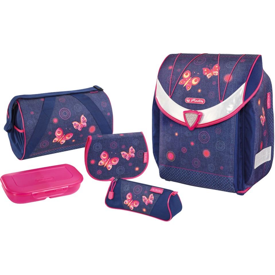 c87ddcad0f Herlitz Flexi Plus Butterfly Dreams set di zaini per la scuola Ragazza Rosa,  Viola, Sacchetti di scuola viola/Rosa, Contenitore per pranzo, Pencil case,  ...