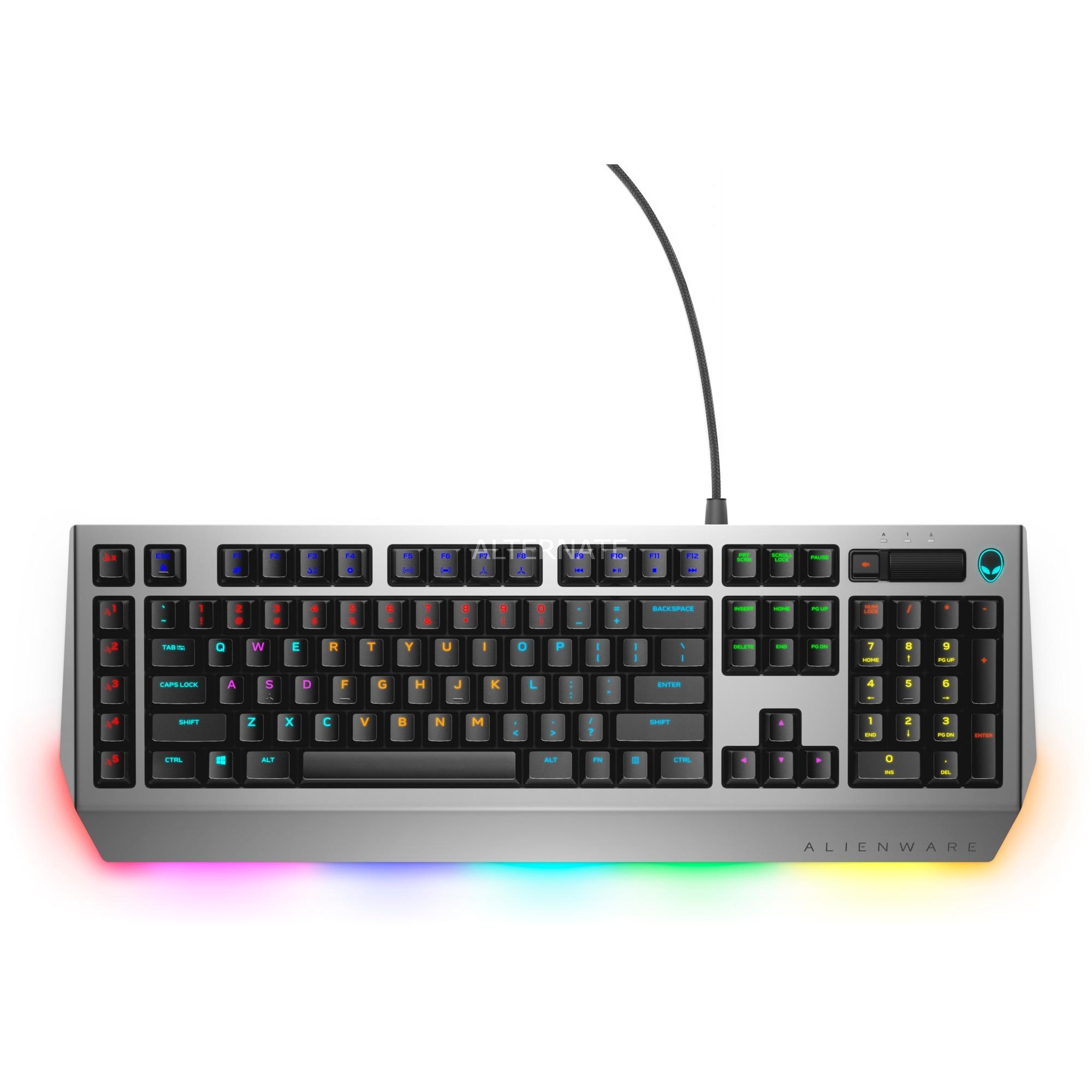 AW768 tastiera USB QWERTZ Tedesco Nero, Argento